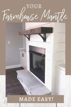 Wood Mantle Fireplace, Living Room Decor Fireplace, Fireplace Facade, Small Fireplace, Farmhouse Fireplace, Fireplace Remodel, Fireplace Design, Fireplace Refacing, Farmhouse Decor