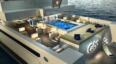 Exterior spaces aboard luxury yacht CUBE designed by Newcruise – Rendeting courtesy of Newcruise