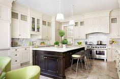 Anne Hepfer Designs - kitchens - two tone kitchen, 2 tone kitchen, ivory cabinets, ivory kitchen cabinets, perimeter cabinets, glass font ki...
