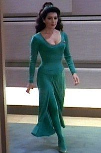 How to make your own homemade Deanna Troi Costume from Star Trek: The Next Generation. A great sci fi fancy dress or for halloween Easy Cosplay, Star Trek Cosplay, Cosplay Ideas, Star Trek Enterprise, Star Trek Voyager, Star Trek Fancy Dress, Deanna Troi Costume, Star Trek Outfits, Star Trek Communicator