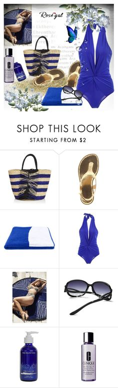 """""""Twist Halter Shaping One Piece Swimwear"""" by astromeria ❤ liked on Polyvore featuring Sensi Studio, MICHAEL Michael Kors, Calvin Klein Jeans, Urban Outfitters, KAYO and Clinique"""