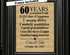 FRAMED 60th Wedding Anniversary/60th Anniversary Gifts/60th