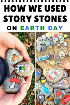 How we Used Story Stones on Earth Day Moon Activities, Forest School Activities, Outdoor Activities For Kids, Nature Activities, Outdoor Learning, Spring Activities, Childcare Activities, Waldorf Montessori, Literacy Day