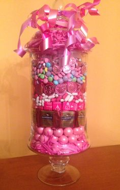 Breast Cancer Fundraiser raffle prize. Layers of pink candies!