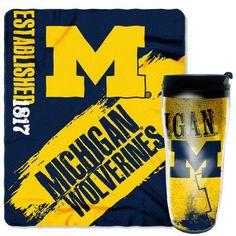 Northwest Co. Collegiate Michigan 2 Piece Fleece Throw and Travel Mug Set