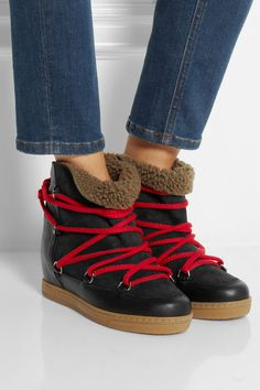 Concealed wedge heel measures approximately 85mm/ 3.5 inches with a 20mm/ 1 inch sole Black leather and suede, dark-taupe shearling Lace-up front Come with interchangeable red laces