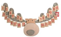 Wooden Moose Advent Calendar Cute!  Replace the numbered sacks with little knitted mittens