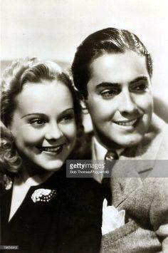 circa 1939, Actors Sonja Henie and Tyrone Power in the film ' Second Fiddle'