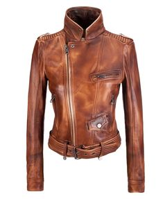 Women's Leather Biker Jacket - This oiled brown tan color is gorgeous! LOVE  The stand up collar, belted bottom, zipper and pocket details...perfection