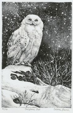 This is a stone lithography print. I love the owl in it. Also the scenery (stars, snowy landscape) is gorgeous. I think the black and white gives it a really nice feel, and allows you to focus on the subtle details of the design rather than overwhelming you with color.