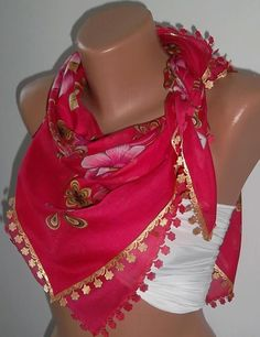 Turkish Shawl  Anatolians Scarf  with Lace Yemeni   Hot by womann, $15.90