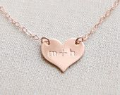 Small Heart Necklace / Engraved Necklace / Personalized Heart Necklace / 1319