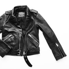 All Saints Leather Jacket. Flat lay - OVRSLO