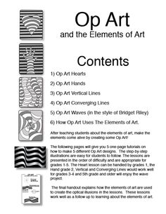 OP ART pinned from LM. Op Art and the Elements of Art. 5 one-page tutorials using Optical Illusions to reinforce the concepts learned in the Elements of Art. Op Art Lessons, Art Lessons Elementary, Drawing Lessons, Documents D'art, Programme D'art, Art Doodle, Classe D'art, Art Handouts, 7th Grade Art