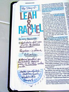 When God Leads   Bonita Rose.  Bible journaling of the story of Leah & Rachel.