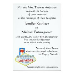 Custom Las Vegas Wedding Plans Personalized Invite created by Rebecca_Reeder. This invitation design is available on many paper types and is completely custom printed. Invitation Paper, Wedding Invitation Design, Wedding Stationery, Custom Invitations, Invite, Las Vegas Weddings, Wedding Themes, Envelope Liners, Wedding Planning