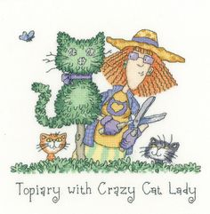 Topiary with Crazy Cat Lady - Heritage Crafts cross stitch