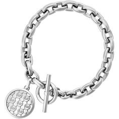 Michael Kors Monogram Toggle Bracelet ($155) ❤ liked on Polyvore featuring jewelry, bracelets, silver, monogram bangle, silver jewellery, michael kors jewelry, silver jewelry and silver toggle bracelet