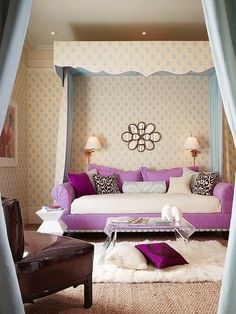 Beautiful Teenage Girls Room Designs: Gorgeous Bedroom Decorating Ideas For Teenage Girls Beautiful Purple Sofa Bed With White Fabric Purple Pillowcase Also Black And White Patterned Cushions Classic Clamp Lamp With White Shade Feats Glass Occasional Table ~ stampead.com Bedroom Design Inspiration