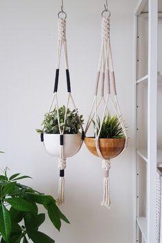 Modern, vintage-inspired macrame plant hanger to grace a living room corner or brighten up an office.
