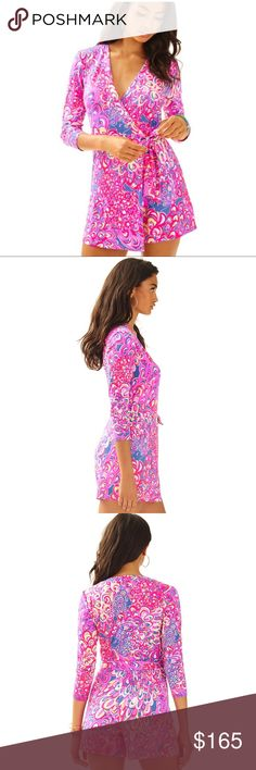 """Lilly Pulitzer Karlie wrap romper Lilly's Lagoon Absolutely stunning, sold out Lilly Pulitzer Karlie romper in Lilly's Lagoon print. Size Medium. Bust flat 16"""". Like new condition. I wore it once for only a few hours. Just a few months ago paid $178+tax for this one.     🌺Will accept best offer!🌺 Please ask questions 💫 Lilly Pulitzer Pants Jumpsuits & Rompers"""