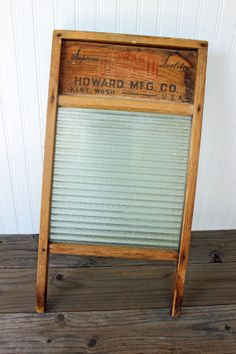 Vintage Wood and Glass Washboard  Crown Glass // by JulesTresors, $40.00