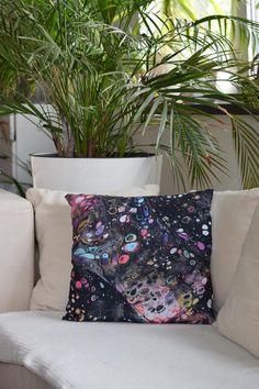 Decorative Art Cushion Abstract Art Pillow, Print of Fluid Painting Acrylic Pour, Home Decor, Artistic Pillow Galaxy Art Decor, Home Decor, Abstract Art, Cushions, Tapestry, Throw Pillows, Painting, Etsy, Vintage