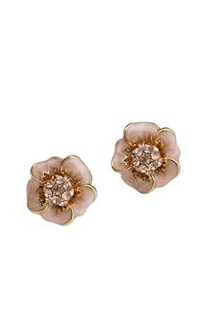 Enamel Flower With Pave Center Post Earrings