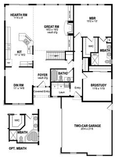 Ranch House Plan First Floor - 034D-0093 | House Plans and More