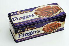 A tin of Cadbury's chocolate fingers Cadbury Chocolate, Chocolate Heaven, Chocolate Bars, Vintage Sweets, Vintage Tins, Vintage Food, Family Memories, Childhood Memories
