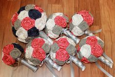Coral and Navy Burlap Flower Bouquet Set, Burlap Wedding Bouquets, Navy and Coral Wedding, Rustic Wedding Bouquets, Navy and Gray by HeyBouquet on Etsy https://www.etsy.com/listing/242345076/coral-and-navy-burlap-flower-bouquet-set
