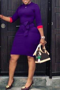 Sum All Chic, Shop Purple-Red Patchwork Sashes Sleeve Plus Size Bodycon Office Worker/Daily Midi Dress online. Plus Size Mini Dresses, Plus Size Bodycon, Plus Size Outfits, African Fashion Dresses, African Dress, Fashion Outfits, Curvy Girl Fashion, Plus Size Fashion, Elegant Midi Dresses