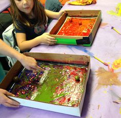 Ball Painting. Forces: Push, Pull and friction. Material: cardboard box, tempera…
