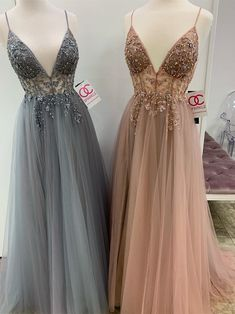 Eye-catching Illusion Prom Dresses Tulle Spaghetti Straps A-line Formal Gowns CP114