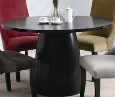 Coaster Amhurst Single Pedestal Round Dining Table in black Satin Finish by Coaster Home Furnishings. $502.56. Dining and Kitchen. Round Dining Table in Black Satin Finish. Dining and Kitchen->Dining Tables. Some assembly may be required. Please see product details.. The Amhurst Collection bestows a self-assured elegance that captures the aura of classic casual dining. Featuring simple designs and a variety of materials, this collection is versatile and able to fit any occasio...