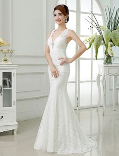 Trumpet/Mermaid V-neck Lace Floor-length Wedding Dress - USD $ 69.99