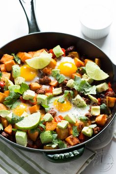 Chorizo Hash with Sriracha Honey Lime Sour Cream