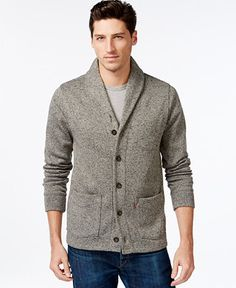 A handsome shawl collar adds a plush look to this comfortable and stylish cardigan from Levi's. | Polyester | Machine washable | Imported | Shawl collar | Button-front placket | Two front patch pocket