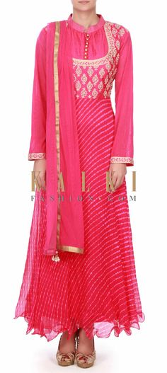 Buy this Rani pink anarkali suit in zari bodice only on Kalki