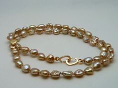 Rose Keshi Pearls Necklace with 18k Gold Clasp - pinned by pin4etsy.com