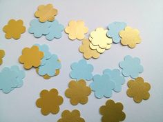 Paper flowers blue and gold 200 die cut flowers baby shower confetti wedding confetti party confetti baby shower boy table scatters