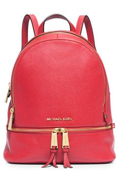 Free shipping and returns on MICHAEL Michael Kors 'Small Rhea Zip' Leather Backpack at Nordstrom.com. Gleaming exposed zippers illuminate the compact silhouette of a street-savvy shoulder bag cut from color-saturated leather. Raised goldtone logo letters serve as a signature signoff.
