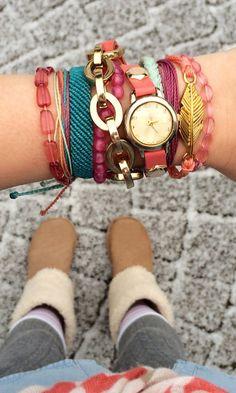 Pop of Pink and Gold Arm Candy #FriendshipBracelet #Bracelet #StackedBracelet #Boho #Bohemian #ArmCandy #FashionBracelet