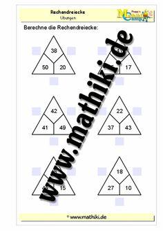 Rechendreiecke bis 100 (Addition / Subtraktion) - ©2011-2016, www.mathiki.de - Ihre Matheseite im Internet #math #addition #subtraktion #subtraction #multiplikation #multiplication #division #arbeitsblatt #worksheet