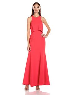 BCBGMax Azria Women's Louella Woven Evening Dress, Bright Poppy, Concealed back zipper closure. racer back. Mid-weight, non-stretch fabric. True to fit. Evening Dresses Online, Dress Online, Best Designer Dresses, Prom Queens, Floor Length Gown, Formal Dresses For Women, Prom Dresses, Summer Dresses, Stretch Fabric