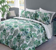 Pieridae Palm Leaf Green Duvet Quilt Bedding Cover and Pillowcase Bedding Set. Pieridae Duvet cover Set have features Beautiful palm Leaves motifs over a camouflage background for a unique modern Tropical look. Bed Sets, Duvet Cover Sets, Comforter Sets, Cover Pillow, Green Duvet Covers, Bed Covers, Duvet Covers Uk, Luxury Duvet Covers, Luxury Bedding