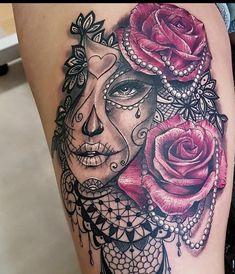 Day of the dead tattoo – tattoo pattern - diy tattoo images Diy Tattoo, Tattoo Tod, Tattoo Ideas, Feminine Skull Tattoos, Simplistic Tattoos, Rose Tattoos, Leg Tattoos, Body Art Tattoos, Lace Flower Tattoos