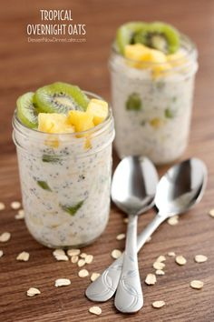 These Tropical Overnight Oats have Silk Almond Coconut Blend, oats, yogurt, and chia seeds. Refrigerate overnight, add some kiwi and pineapple and you have got a tropical breakfast or snack!
