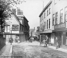 Wensum Street Norwich old photo Norwich England, Norwich Norfolk, Norfolk England, Wonderful Places, Beautiful Places, Great Yarmouth, Uk Photos, Street Photo, Old Pictures