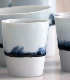 Isabelle René / Tasses et bols en porcelaine émaillée